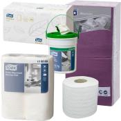 Toiletpapir, køkkenrulle, håndklædeark og servietter